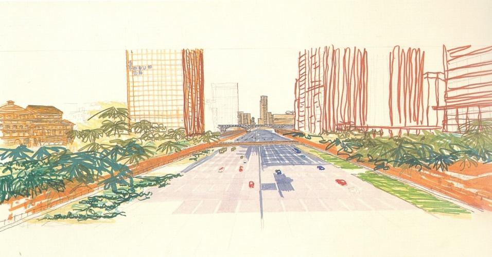 Em 1974, a prefeitura contratou o arquiteto Vilanova Artigas para realizar um plano de reorganização do vale do Anhangabaú, no centro de São Paulo. O objetivo era solucionar o conflito entre pedestres e veículos e organizar a operação dos ônibus no trecho entre a praça da Bandeira e o viaduto Santa Efigênia. Artigas levou em conta a importância do vale como parte da ligação entre os rios Tietê e Pinheiros e decidiu fazer propostas para todo o eixo-norte sul, abrangendo as avenidas Tiradentes, Prestes Maia e Nove de Julho: trevos, alças de acesso, passarelas, pontes, viadutos, rebaixamentos e retificações de vias para separar os fluxos de pedestres e veículos