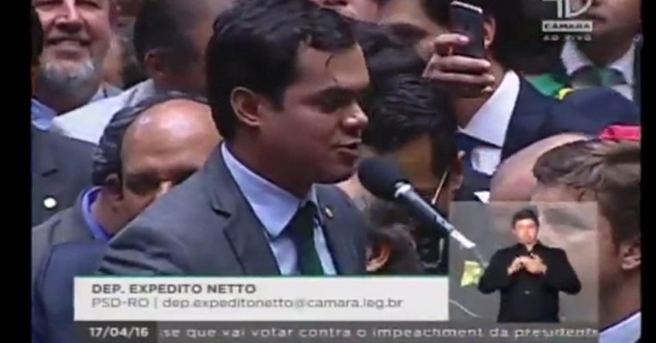 17.abr.2016 - O deputado Expedito Netto (PSD-RO) votou a favor do impeachment da presidente Dilma Rousseff