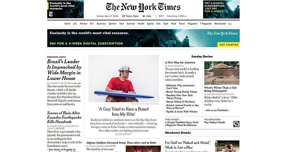 """17.abr.2016 - O jornal """"The New York Times"""" destacou a aprovação do processo de impeachment da presidente Dilma por uma larga margem de votos na Câmara dos Deputados"""