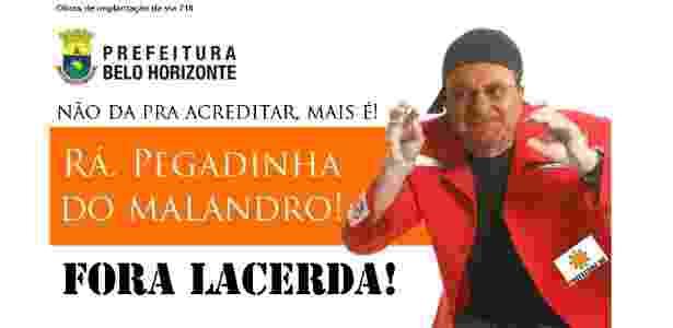 Hackers invadiram o site da Prefeitura de Belo Horizonte e colocaram uma imagem do comediante Sergio Malandro com o rosto do prefeito Marcio Lacerda (PSB) - Reprodução