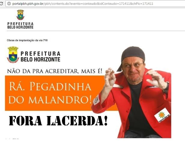 Hackers invadiram o site da Prefeitura de Belo Horizonte e colocaram uma imagem do comediante Sergio Malandro com o rosto do prefeito Marcio Lacerda (PSB)