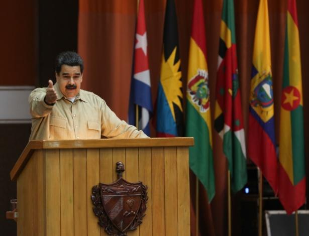 Nicolás Maduro, em ato que comemorou o 12º aniversário da Aliança Bolivariana para os Povos da Nossa América (ALBA), em Havana
