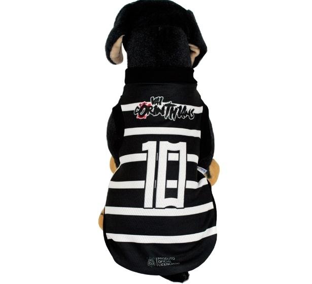 Camisa oficial do Corinthians, da linha Torcida Pet, criada pelo site Pets na Moda