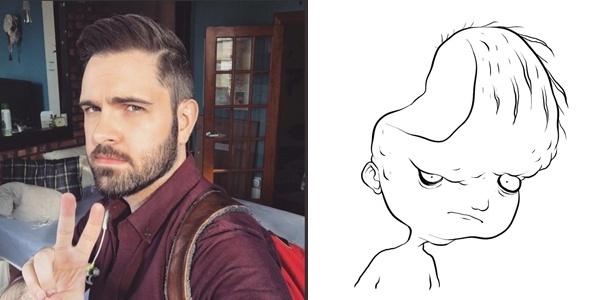 """O escritor e ilustrador Adam Ellis e o desenho que ele fez do fantasma """"Dear David"""": caso tem movimentado o Twitter e é registrado usando uma série de aparatos eletrônicos"""