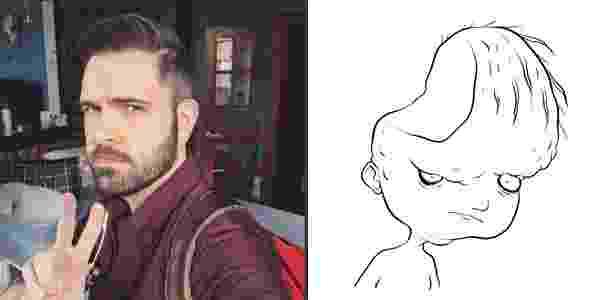 """O escritor e ilustrador Adam Ellis e o desenho que ele fez do fantasma """"Dear David"""": caso tem movimentado o Twitter e é registrado usando uma série de aparatos eletrônicos - Montagem/UOL"""