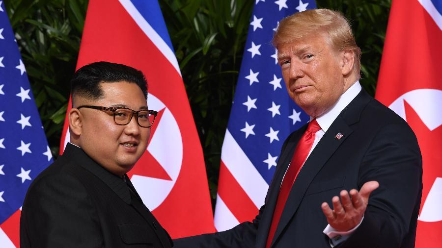 11.jun.2018 - Donald Trump e Kim Jong-un em Singapura. A desnuclearização da península coreana foi um dos principais tópicos das conversas entre os líderes - Saul Loeb/AFP