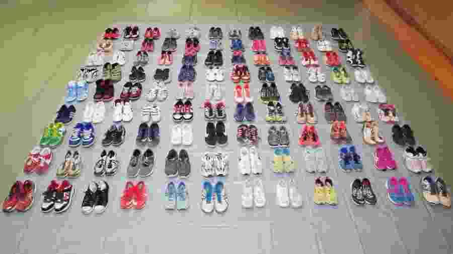 Polícia mostrou todos os pares de calçados furtados por Makoto Endo  - Divulgação/Polícia