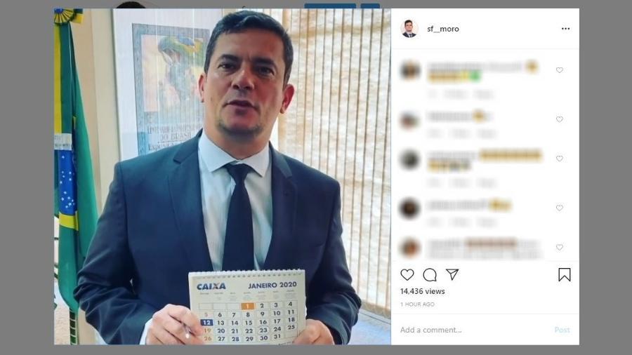 Moro repetiu estreia no Twitter, quando publicou imagem de calendário para atestar ser dono de conta na rede social - Reprodução