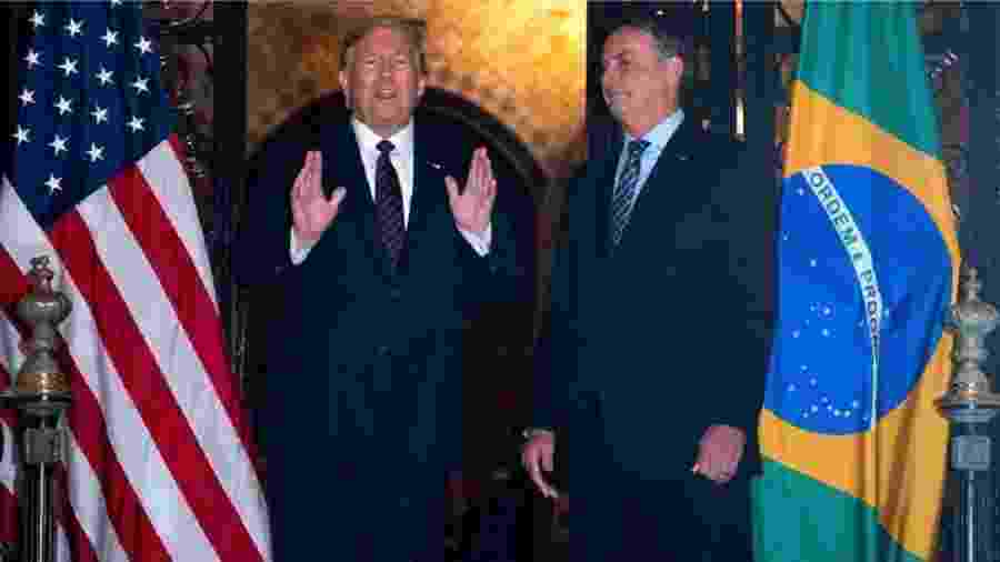 Donald Trump e Jair Bolsonaro se encontram em Miami no dia 7 de março de 2020 - Foto: Jim Watson / AFP