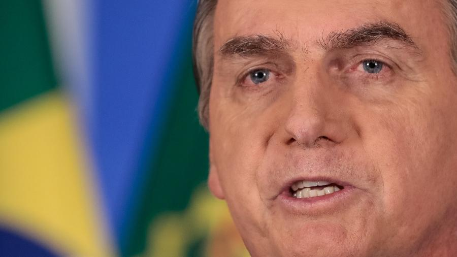 8.abr.2020 -  O presidente Jair Bolsonaro (sem partido) durante pronunciamento em rede nacional de rádio e televisão - Carolina Antunes/Presidência da República