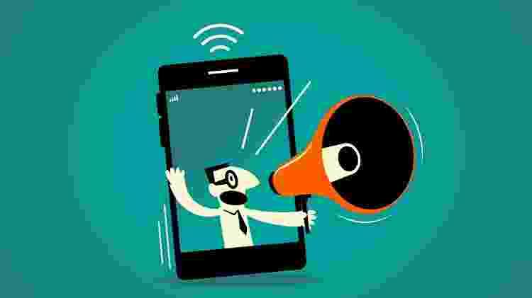 Denúncia online, redes sociais, megafone, trombone, celular, smartphone, discussão, debate, bate-boca, barraco, redes sociais, live streaming, propaganda, anúncio - Getty Images - Getty Images