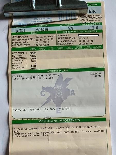 Conta de luz do amapaense Felipe Welister Cruz Brasil - Reprodução