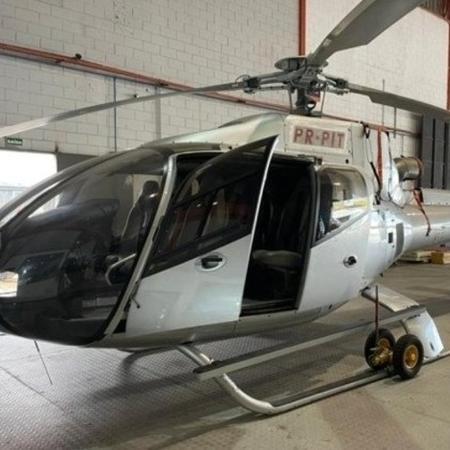 Avaliado em aproximadamente R$ 8 milhões, o helicóptero foi um dos itens apreendidos pela corporação em setembro de 2019 - Redes sociais