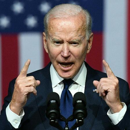 1.jun.2021 - O presidente dos Estados Unidos Joe Biden em discurso na cidade de Tulsa, em Oklahoma - Mandel Ngan/AFP