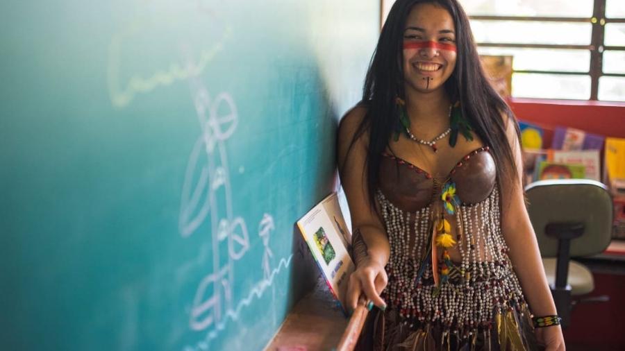 Nauany na escola indígena onde completou o ensino fundamental 1 - Fábio Hirata/Unicef