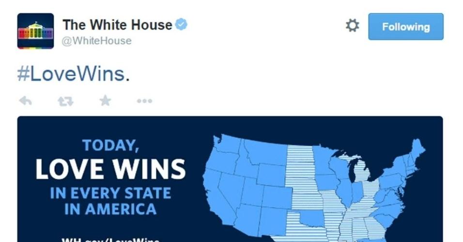 26.jun.2015 - Twitter da Casa Branca divulga mensagem após a Suprema Corte dos Estados Unidos decidir que a Constituição do país garante aos casais homossexuais o direito de se casarem