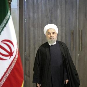 Hassan Rouhani, presidente do Irã, faz um pronunciamento após a suspensão de sanções dos EUA e da União Europeia
