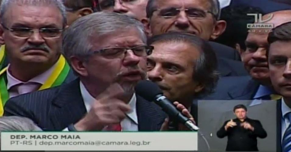 17.abr.2016 - O deputado Marco Maia (PT-RS) votou contra o impeachment da presidente Dilma Rousseff