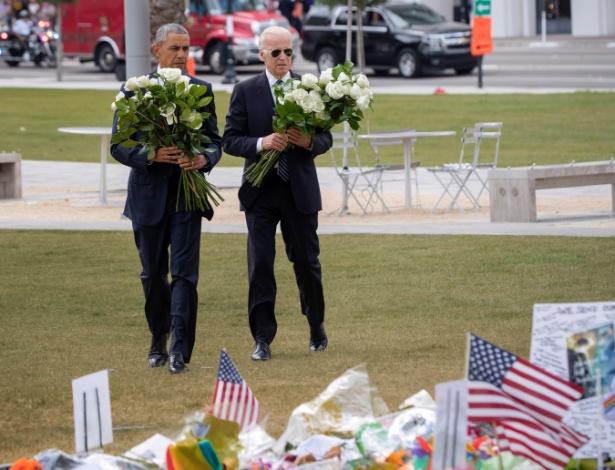 Obama e Joe Biden, levam flores ao memorial das 49 vítimas do massacre de Orlando
