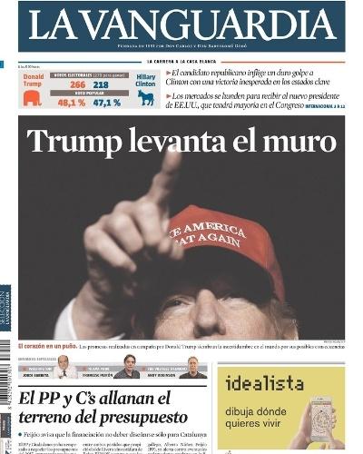 """09.nov.2016 - O jornal espanho La Vanguarda trouxe na capa a mensagem """"Trump levanta o muro"""", em referência à vitória do republicano e a uma de suas propostas, de levantar um muro na fronteira entre México e EUA"""