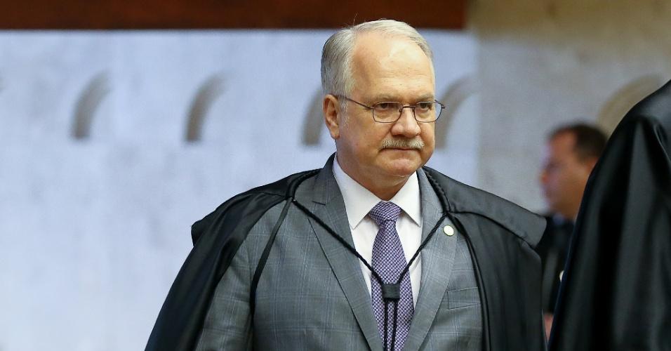15.fev.2017 - O ministro Edson Fachin participa da sessão do STF que julga pedido de liberdade do ex-deputado Eduardo Cunha