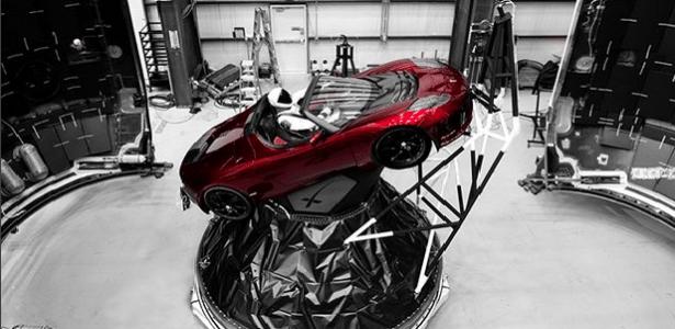 """O carro e seu """"motorista"""" serão lançado com o foguete Falcon Heavy"""