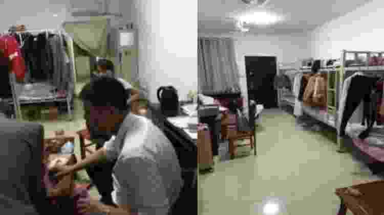 Dormitório para até seis funcionários funcionários em fábrica; banheiro fica na área externa - Divulgação/China Labor Watch - Divulgação/China Labor Watch