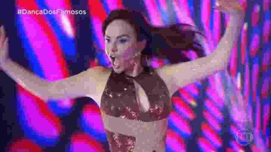 25.ago.2019 - A atriz Luiza Tomé na estreia da Dança dos Famosos 2019 - Reprodução/TV Globo