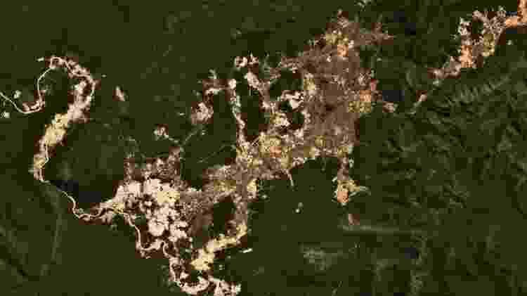 Garimpo ilegal de ouro na Terra Indígena Kayapó, no Pará; imagens de satélite mostraram aumento da atividade desde o início do governo Jair Bolsonaro - Planet