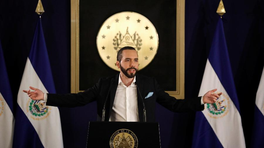 1º.nov.2019 - O presidente de El Salvador, Nayib Bukele, em coletiva de imprensa na capital do país, San Salvador - Jose Cabezas - 1º.nov.2019/Reuters