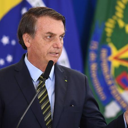 O presidente Jair Bolsonaro durante cerimônia das Forças Armadas no Palácio do Planalto - Evaristo Sa/AFP
