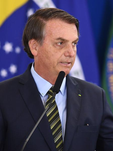 Presidente Jair Bolsonaro durante cerimônia das Forças Armadas no Palácio do Planalto - Evaristo Sa/AFP