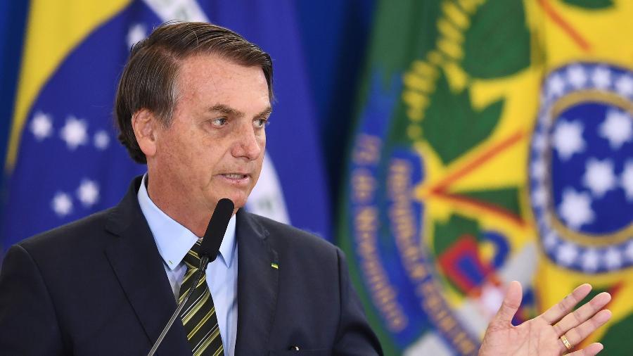 20.dez.2019 - O presidente Jair Bolsonaro durante cerimônia das Forças Armadas no Palácio do Planalto - Evaristo Sa/AFP