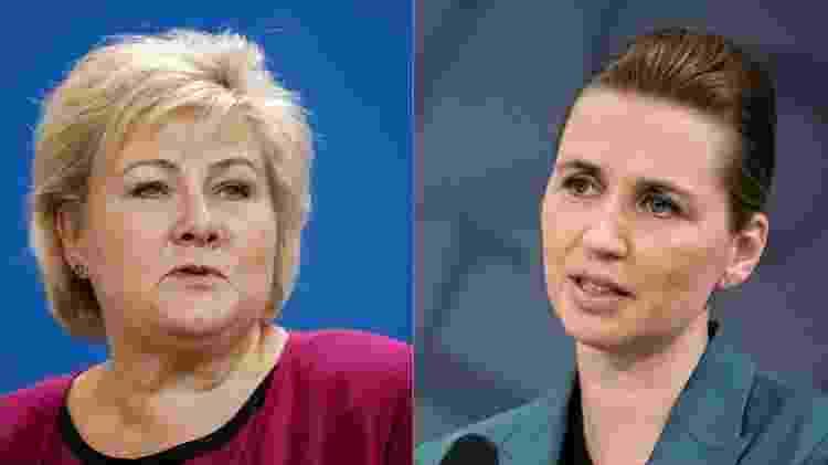 As primeiras-ministras da Noruega, Erna Soldberg, e Dinamarca, Mette Frederiksen, conduziram falas especificamente para crianças - BBC - BBC