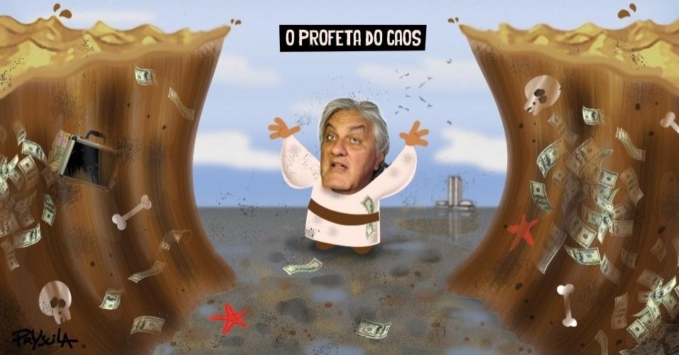 """17.mar.2016 - A cartunista Pryscila retrata o senador Delcídio do Amaral como um """"profeta do caos"""""""