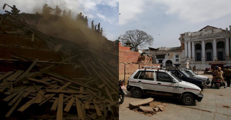 25.abr.2016 - Essa montagem mostra, à esquerda, moradores caminhando em uma rua deserta após uma casa desabar com o terremoto de magnitude 7,8 devastou parte da nação himalaia, em 29 de abril de 2015. À direita, está a mesma rua em foto feita em 17 de fevereiro de 2016. Um terremoto de magnitude 7,8 arrasou o país no dia 25 de abril de 2015, matando mais de 9.000 pessoas. Apenas no vale de Katmandu foram 2.000 vítimas