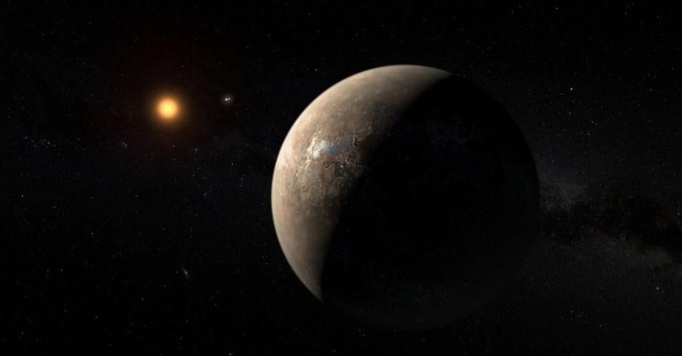 Ilustração mostra como seria o recém-batizado 'Proxima b', um planeta habitável orbitando a estrela mais próxima do nosso Sol. A descoberta foi anunciada nesta quarta-feira (24). O 'Proxima b' tem aproximadamente a mesma massa da Terra e está em uma zona temperada compatível com a presença de água em estado líquido, condição essencial para a vida