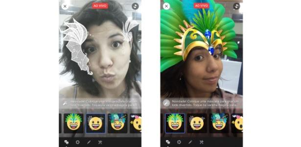 Máscaras de Carnaval para o Facebook Live