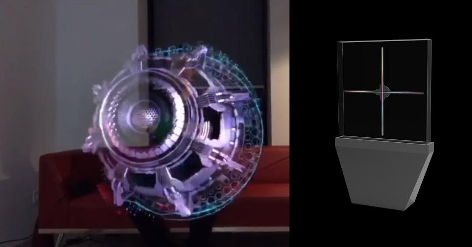 """12.jan.2018 - A empresa Hologruf mostra na CES uma tecnologia de holograma 3D para propagandas em locais públicos --algo similar ao que faz o droid R2-D2 nos filmes de """"Star Wars"""". Mas o visual não é realmente projetado no ar, mas obtido com um aparelho transparente que conta com hélices e tiras luminosas que giram rápido para formar a imagem."""