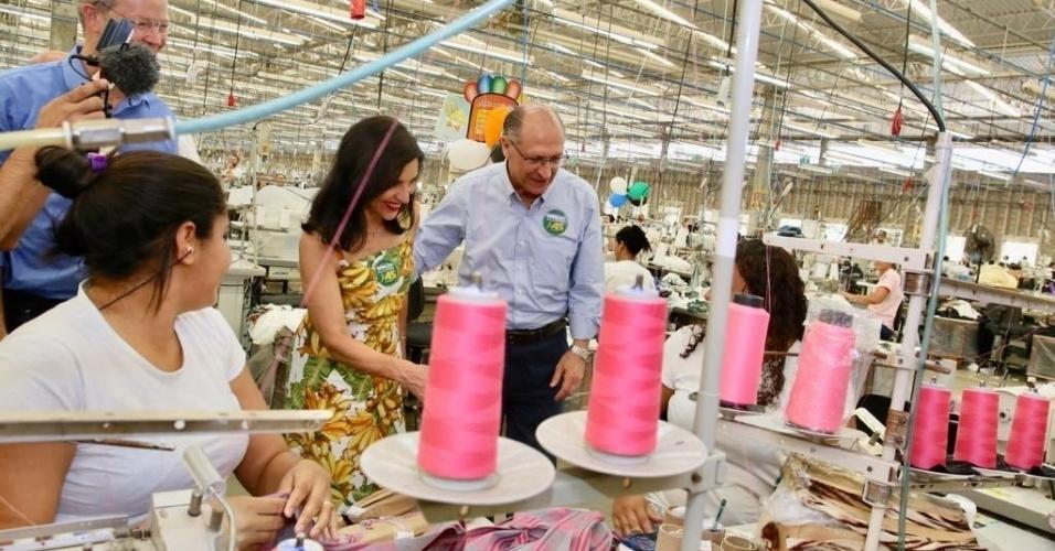 14.set.2018 - O candidato à Presidência pelo PSDB, Geraldo Alckmin, visita a confecção do Grupo Guararapes, que comanda a rede Riachuelo, no Rio Grande do Norte, nesta sexta-feira (14)