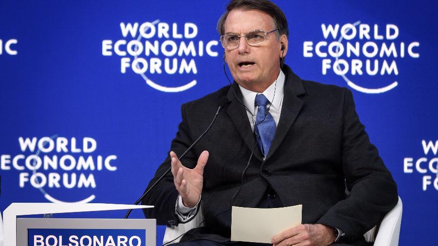 22.jan.2019 - Presidente Jair Bolsonaro em Davos - Fabrice COFFRINI / AFP