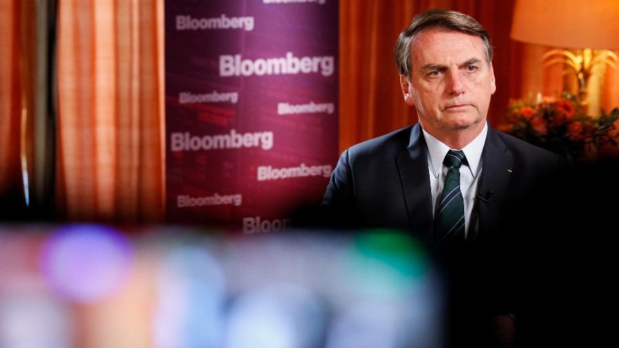Jair Bolsonaro concede entrevista à Bloomberg, em Davos, na Suíça - Alan Santos/PR