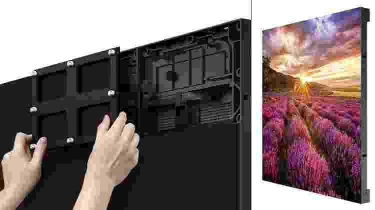 Encaixe do módulo de LED na tela da TV (esq.), e módulo destacado (dir.) - Divulgação/Samsung