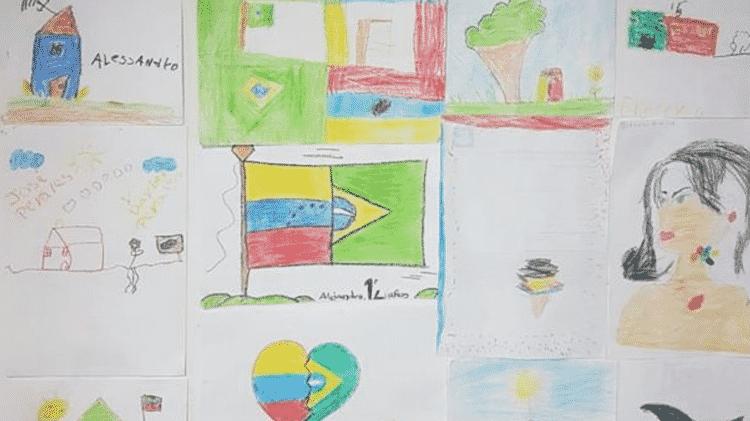 Desenhos feitos pelas crianças acabaram pregados nas paredes do escritório onde defensores públicos atuam no atendimento aos venezuelanos que pedem refúgio no Bra - Defensoria Pública