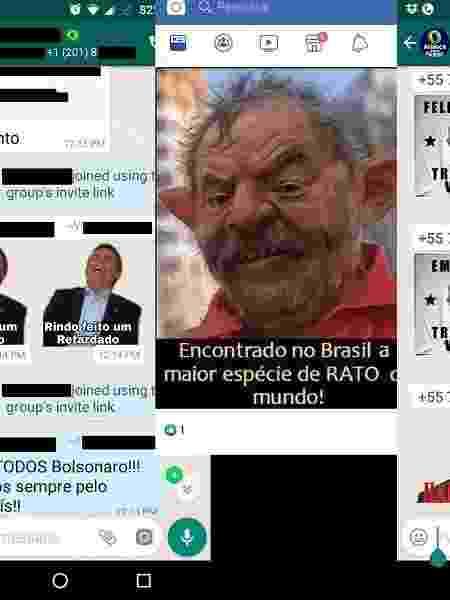 """Petistas mencionaram Lula, emprego e Bolsonaro; em resposta, direitistas chamaram petista de """"rato"""" - Montagem/UOL"""