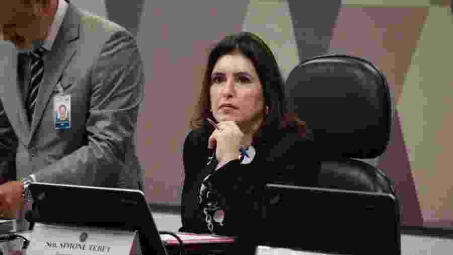 No Plenário do Senado, o presidente do Senado, Davi Alcolumbre, e a presidente da CCJ, Simone Tebet - Roberto Castello/Ascom Simone Tebet