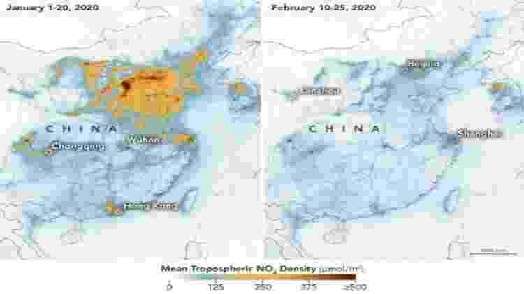 Imagens da Nasa mostram queda na poluição na China - Reprodução/Nasa Earth Observatory - Reprodução/Nasa Earth Observatory