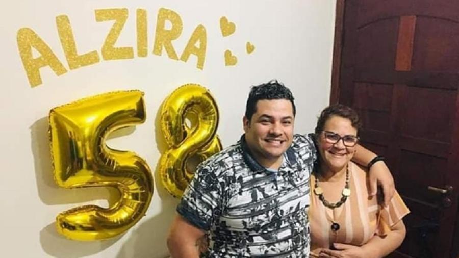 Luiz Fagner Dias Novaes, 31, e a mãe, Alzira da Silva Novaes; os dois e mais três membros da família pegaram covid-19 - Arquivo pessoal