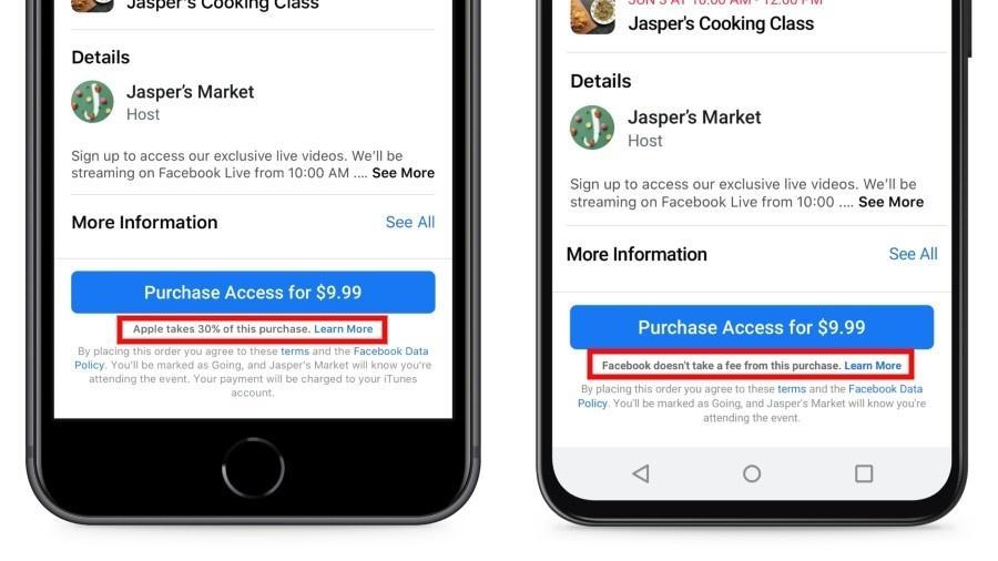 """Facebook escreveu em letras pequenas mensagens no seu app dizendo: """"A Apple retira 30% desta compra"""" no iOS e """"Facebook não retira taxas desta compra"""" no Android - Divulgação"""