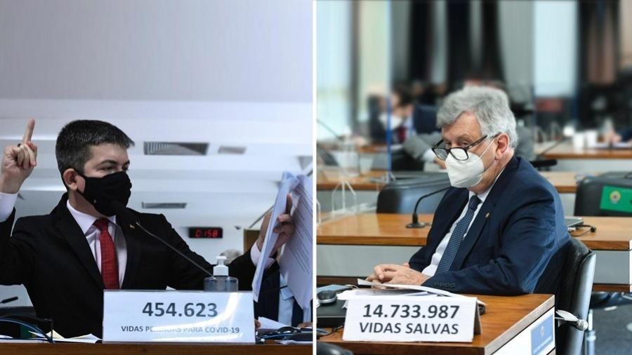 O vice-presidente da CPI, Randolfe Rodrigues (Rede-AP), à esquerda; e o governista Luis Carlos Heinze (Progressistas-RS), à direita - Arte/UOL